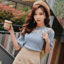 Dabuwawa Spring New Bow Blue Knitted Sweaters Top for Girls Woman Lady 2019 Half Lattern Sleeve Short Pullovers DN1AJS008