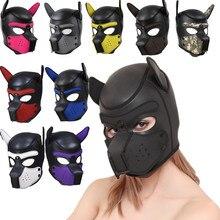 10 farbe M/L Sexy Sex Maske Cosplay Hund Voller Kopf Maske mit Ohren Weich Gepolsterte Spielzeug Latex Gummi haube Welpen Rolle Spielen Kostüm Party