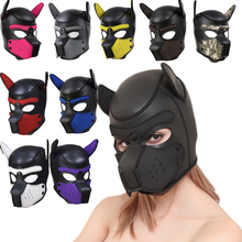 Full-Head-Mask Puppy Rubber Hood Latex Role-Play Sexy Costume with Ears Soft-Padded-Toy