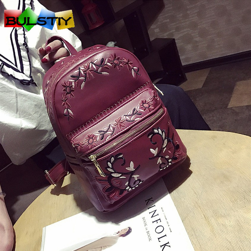 2017 Women Backpack Floral Embroidery Backpacks White PU Leather Bag For Teenage Girls School Bags Solid Mochila High Quality 2017 high quality women backpack vintage backpacks for teenage girls fashion large school bags pu leather black bag mochila