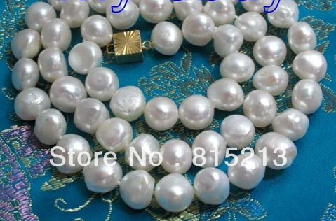 11mm Baroque White Freshwater Pearl Necklace GP 24 5.3