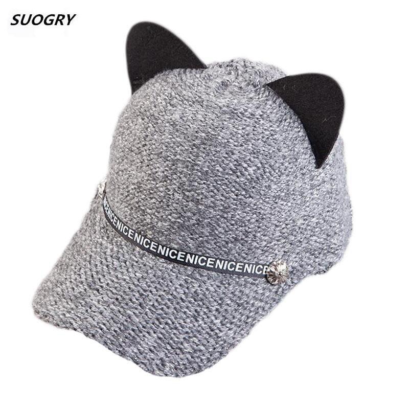 2018 New Women Winter Caps Fashion Woman Knitting Baseball Cap Cute Cat Ear Casual letter Band Visor