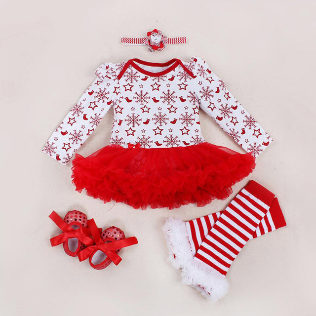 4bf65fc667d71 US $18.39 20% OFF|4PCs per Sets Infant Girl Clothes Red Baby Girls  Snowflake Printed Christmas Dress Shoes Leggings Headband-in Dresses from  Mother & ...