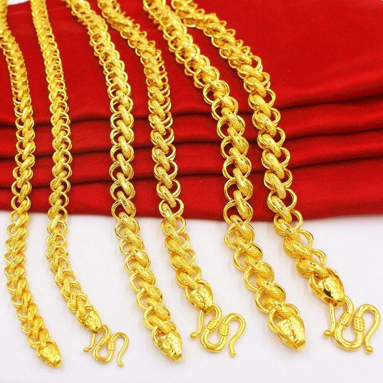 8 10 12 MM personnaliser collier pour femmes hommes 24 K or pendentif colliers pour femme pendentif chock collier Bijoux 60 CM