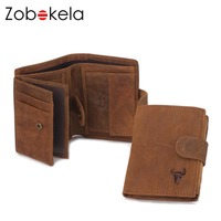 ZOBOKELA Genuine Leather Men Wallet Coin Purse Card Holder Zipper Small Clutch Bags Organizer Dollar Price Walet Money Bag purse