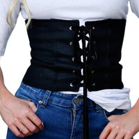 8 Colour High Elastic Lady Plastic Waist Tie Tops Lace Up Ladies Wide Belt Tops White
