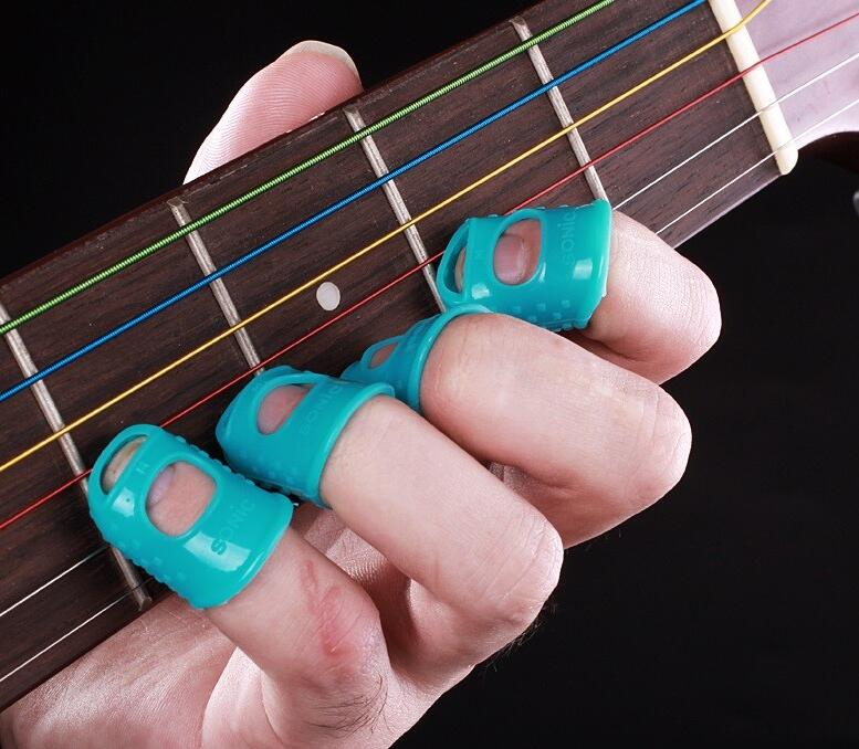 12Pcs Silicone Guitar Fingertip Protectors Silicone Anti-slip Finger Guards Finger Props Finger Protector Thumb Caps for Ukulele Electric Guitar Learning
