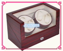 New 4+0 Automatic Wooden Stripped Wine Red + White Watch Winder Storage Display Case Box Rotate Leather