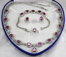 "Nobility jewelry choker natural Natural Rose Red zircon necklace 18 ""bracelet 7.5"" Earring Ring +box Grad Gold Plated"