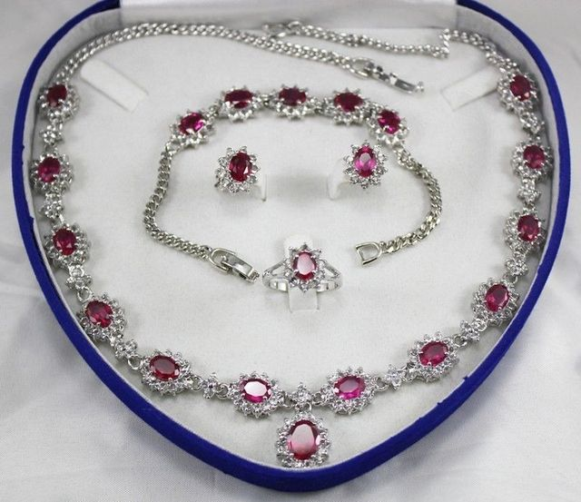 """Nobility jewelry choker natural Natural Rose Red zircon necklace 18 """"bracelet 7.5"""" Earring Ring +box Grad  Plated"""