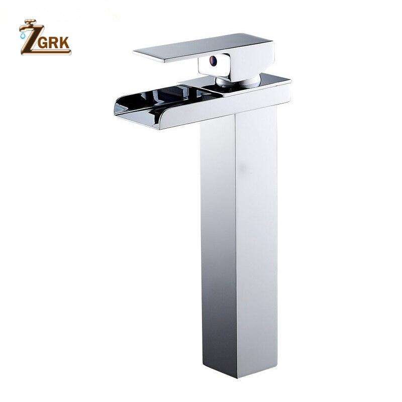 ZGRK robinet de lavabo moderne blanc robinet de salle de bain robinets cascade monotrou robinet d'eau froide et chaude robinet de lavabo noir robinet mitigeur - 4