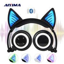 AIYIMA Bluetooth наушники беспроводные складные мигающие кошачьи наушники игровая гарнитура с светодиодный подсветкой для девочек