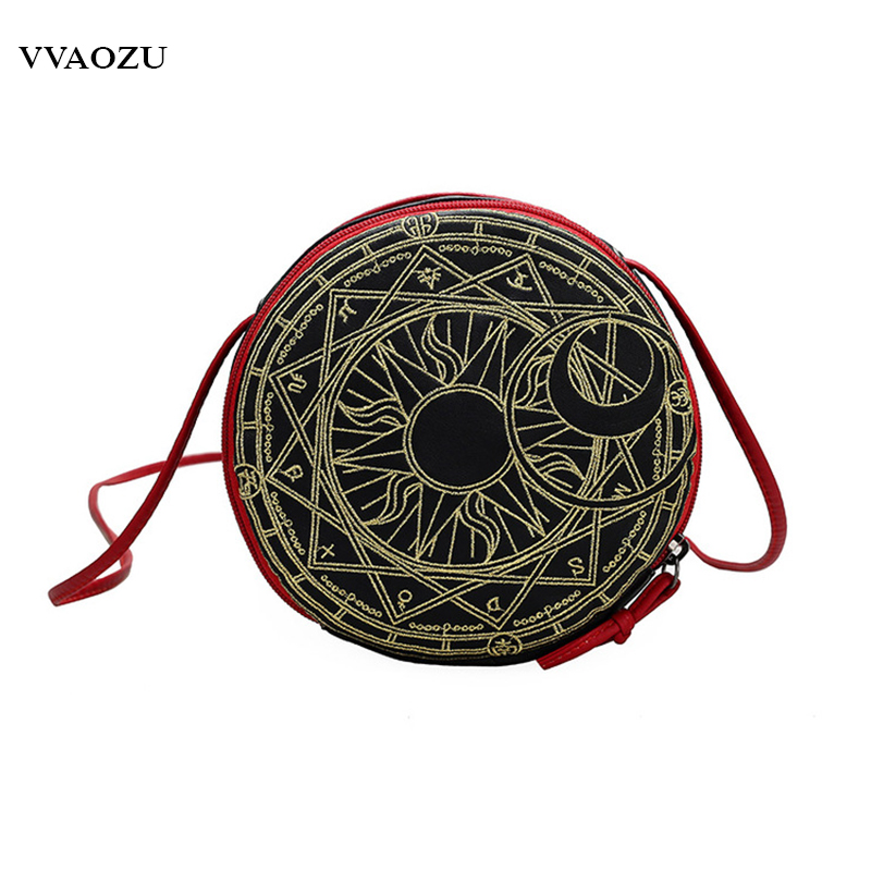 Anime Cardcaptor Sakura Lolita Round Bag Card Captor Sakura Magic Circle Cosplay Messenger Bag Cute Women Handbag japanese comic card captor sakura wings schoold backpack magical card girl sakura cosplay backpack sakura wings bag
