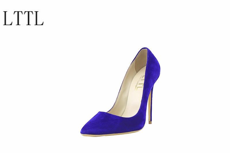 ФОТО women pumps 2017 blue black pink pointed toe pumps shallow flock women pumps fashion sexy high heels shoes big size 35-42