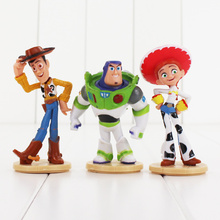 3pcs/lot 8-9cm Toy Story Action Figure Toy Hot Wood cute cartoon Jessie Buzz lightyear figure model toys popular for Christmas