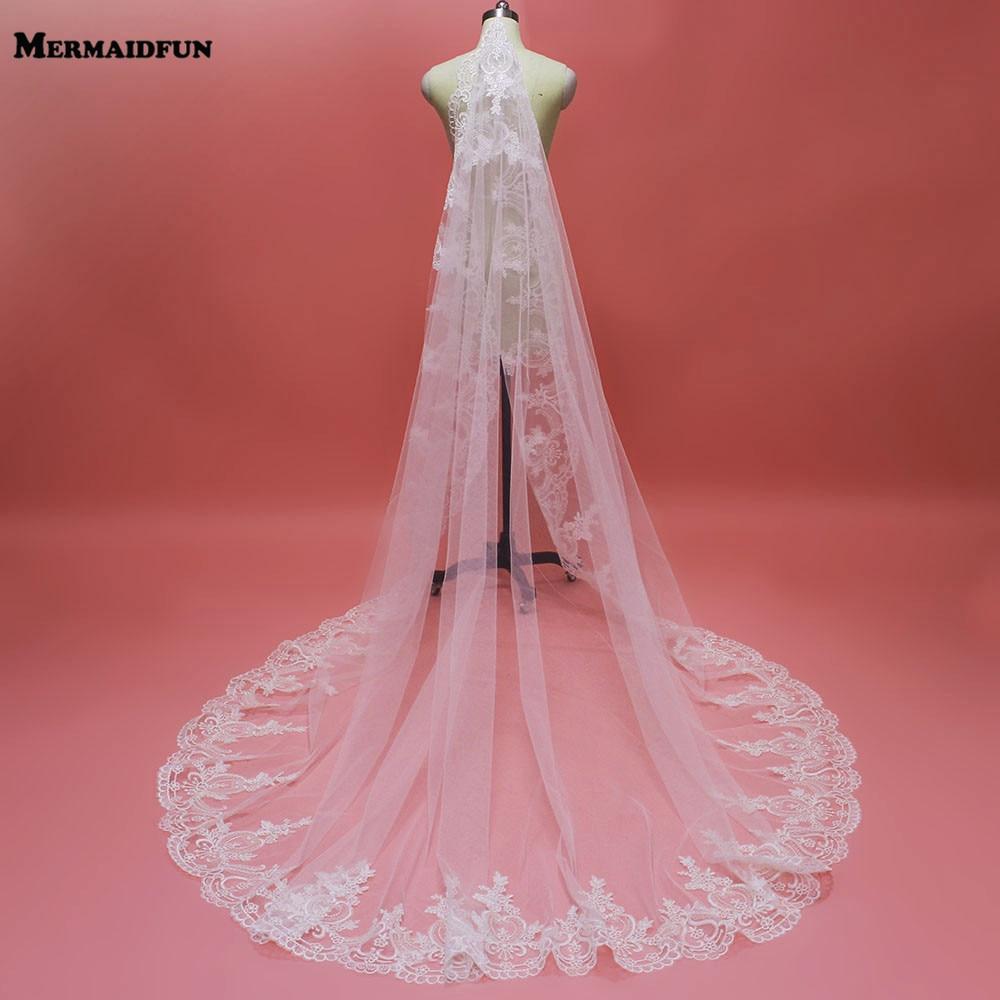 Elegant Lace Edge Chapel One Layer Wedding Veil New 1 Tier 230cm Bridal Veil With Comb 2019 Voile De Mariee