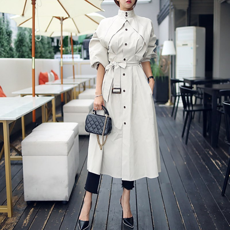Women Autumn Winter Long   Trench   Korean Fashion Elegant Coat Stand Collar High Waist Lace Up Women Loose Windbreakers
