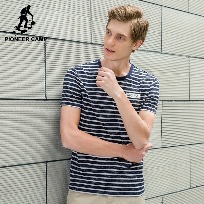 PioneerCamp Official Flagship Store Pioneer Camp New striped T shirt men brand clothing fashion summer T-shirt male quality casual short Tshirt grey red ADT701075