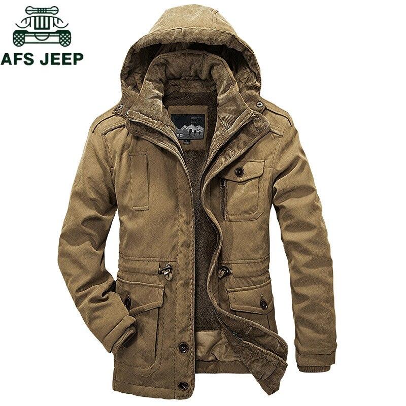 AFSJEEP Brand Thick Two Pieces Winter jacket men detachable wool liner Military parka men Plus Size 4XL Super warm parkas hombre