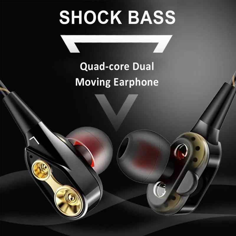 In-Ear Dual Driver Earphone Super Bass Headset Stereo Earbud dengan Mikrofon HI FI Earphone untuk Ponsel