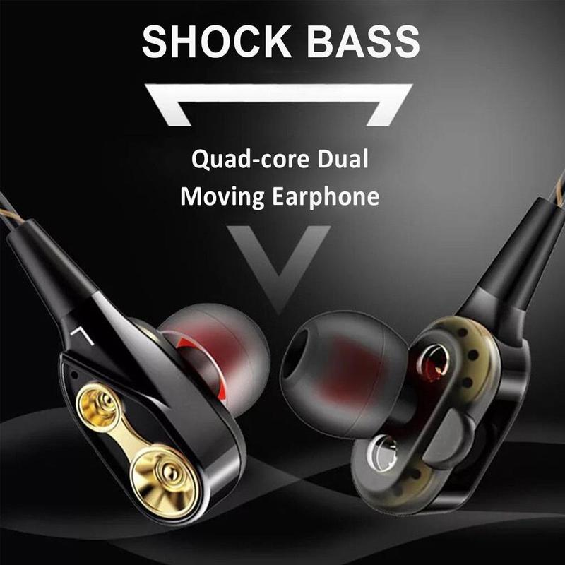 In-ear Dual Driver Earphone Super Bass Headset Stereo Earbuds With Microphone Hifi Earphone For Phone