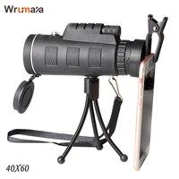 Wrumava 40x60 HD Zoom Optik Yüksek Güç Büyütme Monoküler Kapsam Teleskop telefon tutucu ve Tripod Tüm Telefon Için|zoom optical|optical zoom telescopezoom phone telescope -