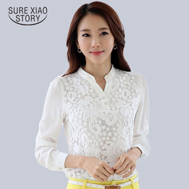 2019 High quality Lace chiffon   Blouse     shirt   Beading Long Sleeve women   shirts   blusas Femininas Plus Size womens Clothing 60B6