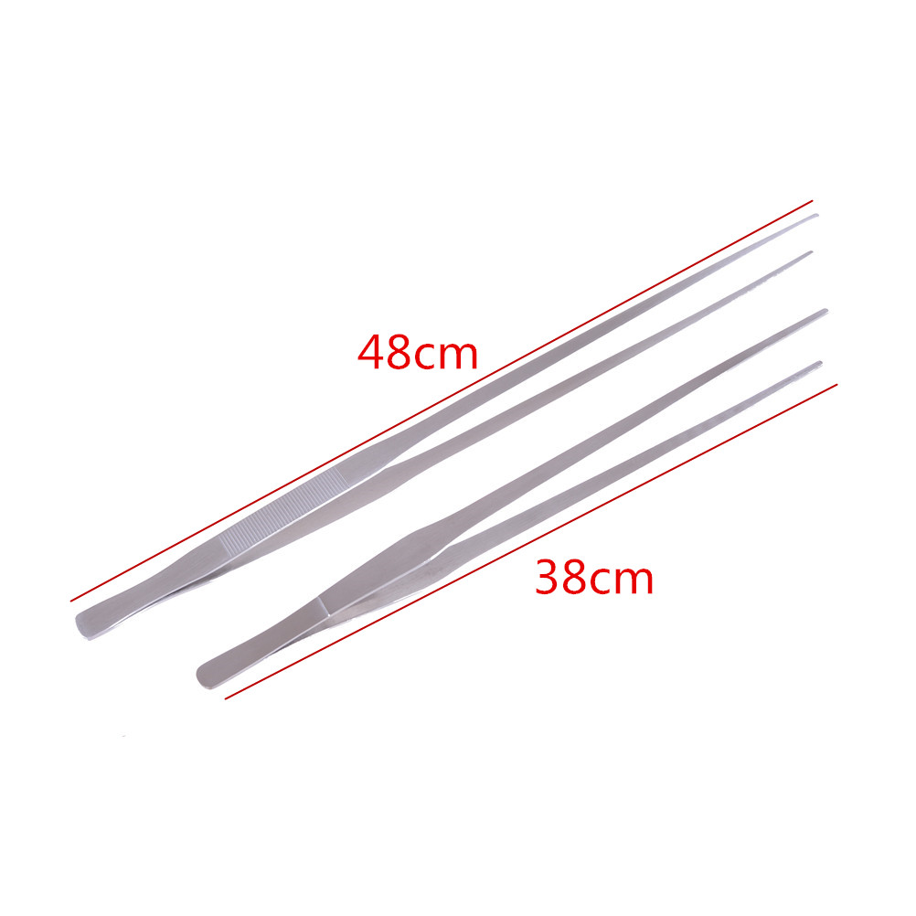 Stainless Steel Tweezers 2Styles 38cm Aquarium Live Tank Curve Plant Long Tongs