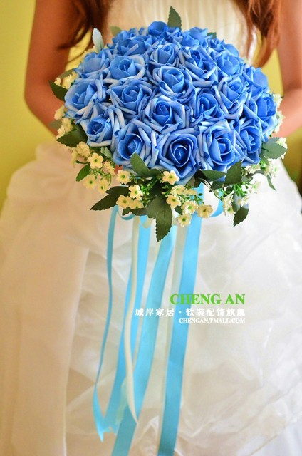 2017 Barato de La Boda/Ramos de Dama de honor Azul de la Nueva Llegada Hecha A Mano Nupcial de Marfil Artificial ramo de la boda Ramo de mariage