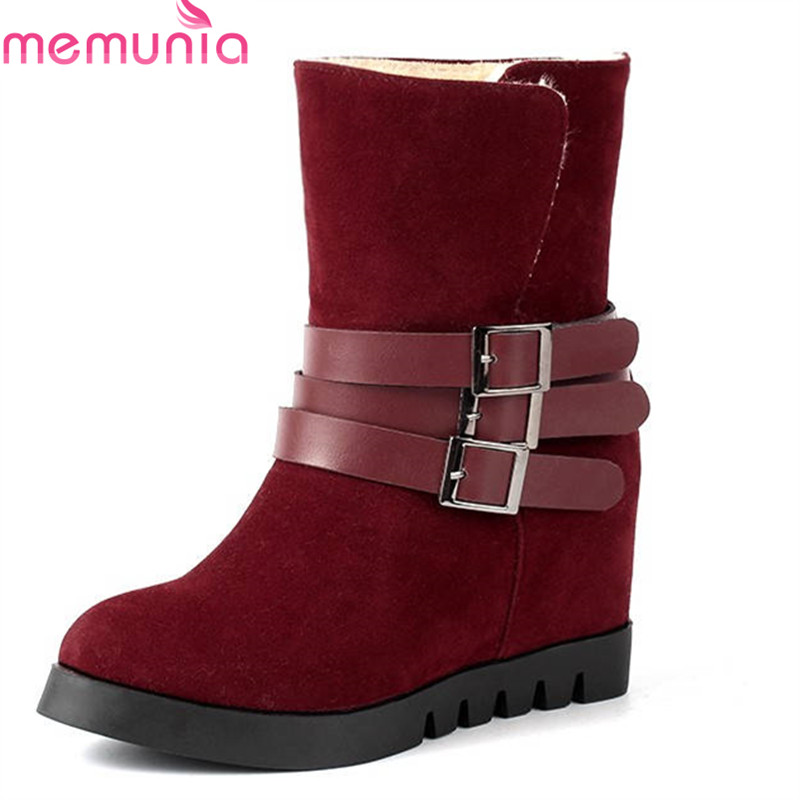 цены MEMUNIA 2018 NEW arrival round toe slip on Warm Plush winter boots platform ankle boots for women wedges high heels snow boots