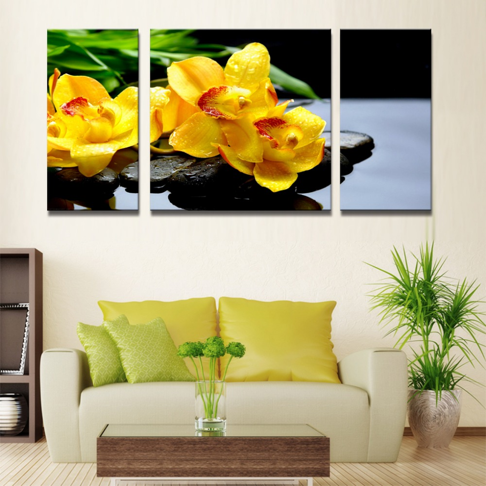 pop Gold color tulips decoration wall pictures for living room ...