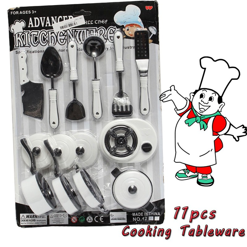11pcs Set Children Pretended Role Play Kitchen Utensil Accessories Cooking Toy Kids Role Play Toy