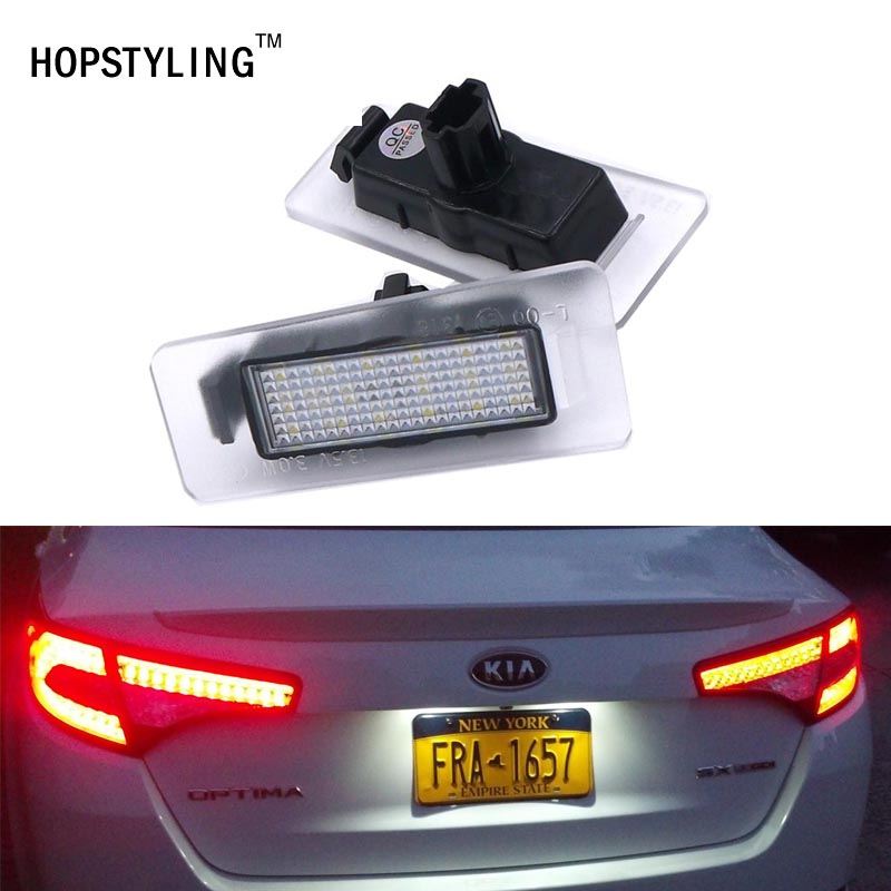 Car styling 2x 18SMD LED Xenon White number plate light For Kia Rio III Optima Magentis Forte Cerato Cadenza Ceed No Error new styling leather car seat cover car cushion complete set for kia k4 k5 kia rio ceed cerato sportage optima maxima four season