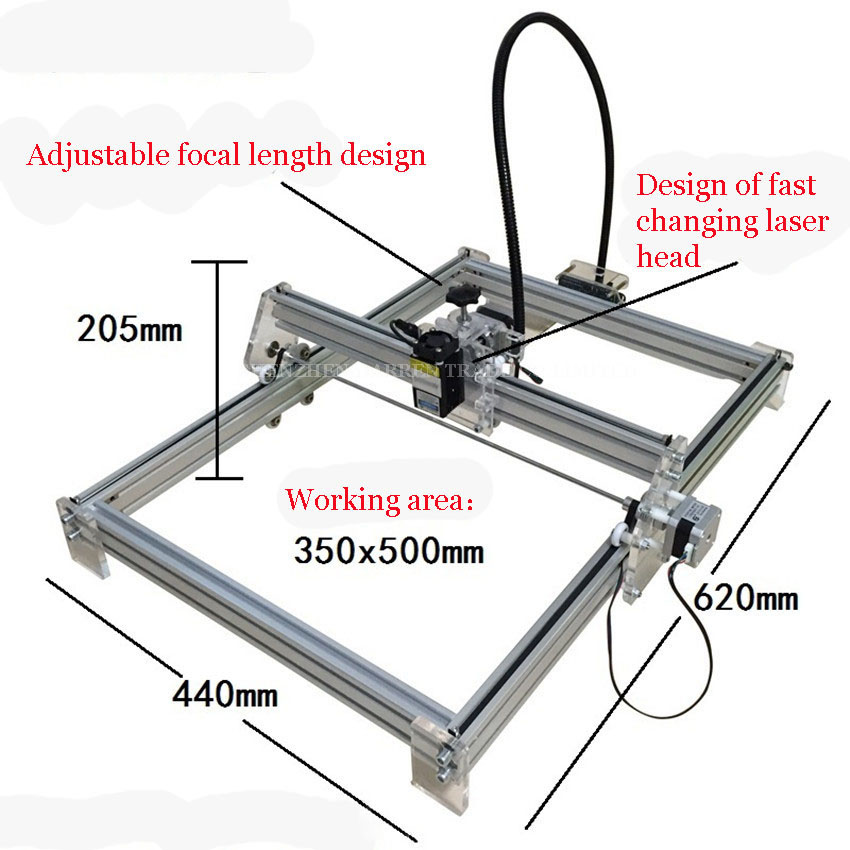 цены  1PC  1000mW DIY Desktop Mini Laser Engraver Engraving Machine Laser Cutter Etcher 35X50cm Adjustable Laser Power