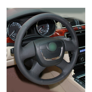 Image 4 - יד תפור שחור PU מלאכותי עור רכב הגה כיסוי עבור סקודה אוקטביה 2009 2013 Citigo 2011  2012 רומסטר פאביה