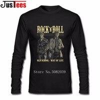 Camisas dos homens T de Impressão T-shirt Do Homem do Rock N Roll Gráfico Nova Vinda Chefe Hip Hop camisetas de Manga Longa T