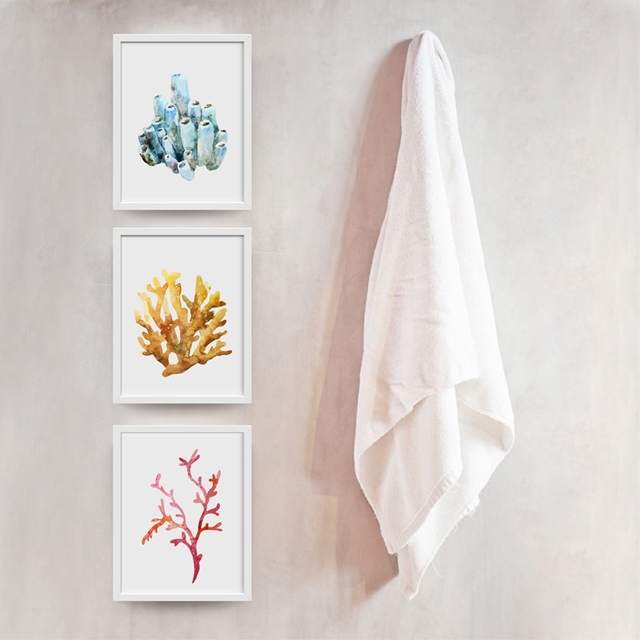 Corals Art Print Wall Pictures Home Watercolor Cora Hanging Bathroom Canvas Painting Nautical