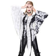 Gotyckie damskie nieregularne zgrywanie płaszcz czarno-biały rozmazywanie nadruk patchworkowy z kapturem kurtki Retro renesansowe kostiumy koszulki tuniki tanie tanio Długi Womens Jacket Cienkie Asymetryczna długość Kobiety Poliester NONE zipper Kurtki płaszcze Gothic vintage Drukuj