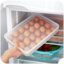 Large capacity egg boxes storage box plastic transparent refrigerator with lid