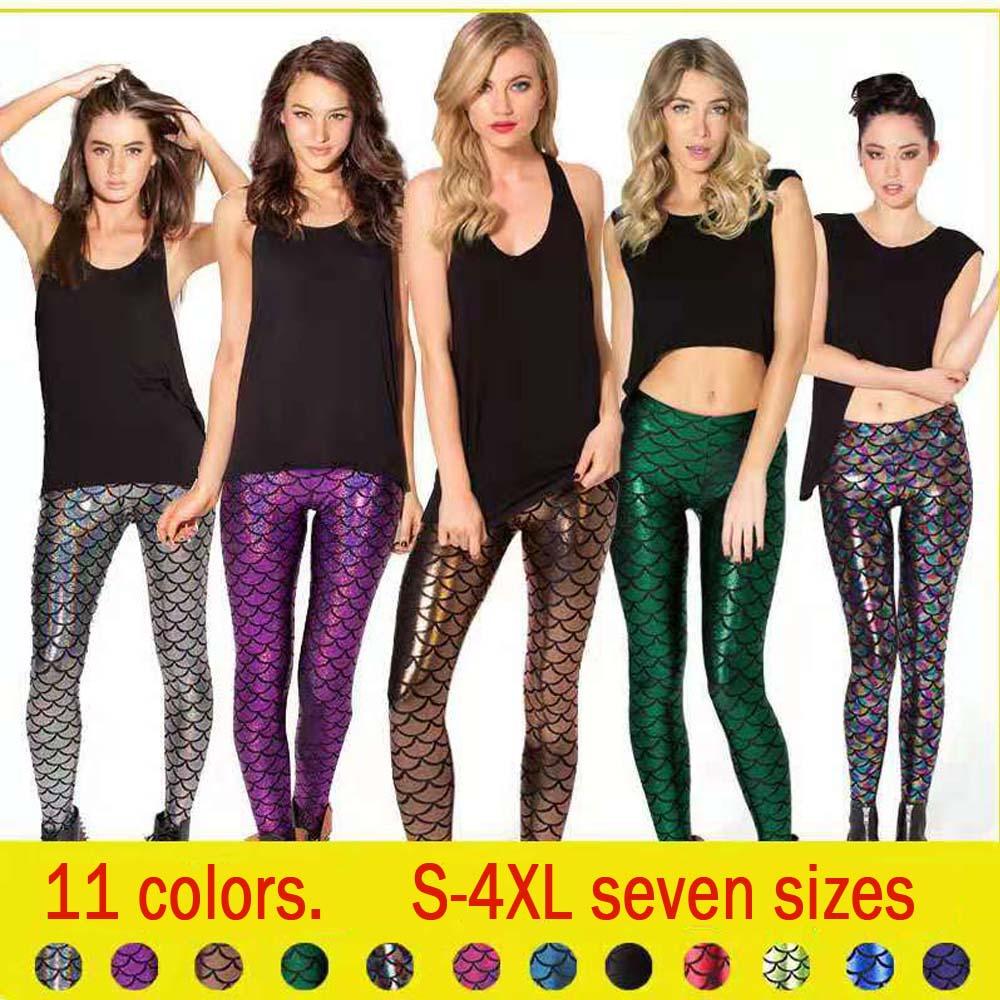 Hot sale female models scales   leggings   11 colors S-4XL multicolor printing mermaid fish scales fish print shiny nine points legg