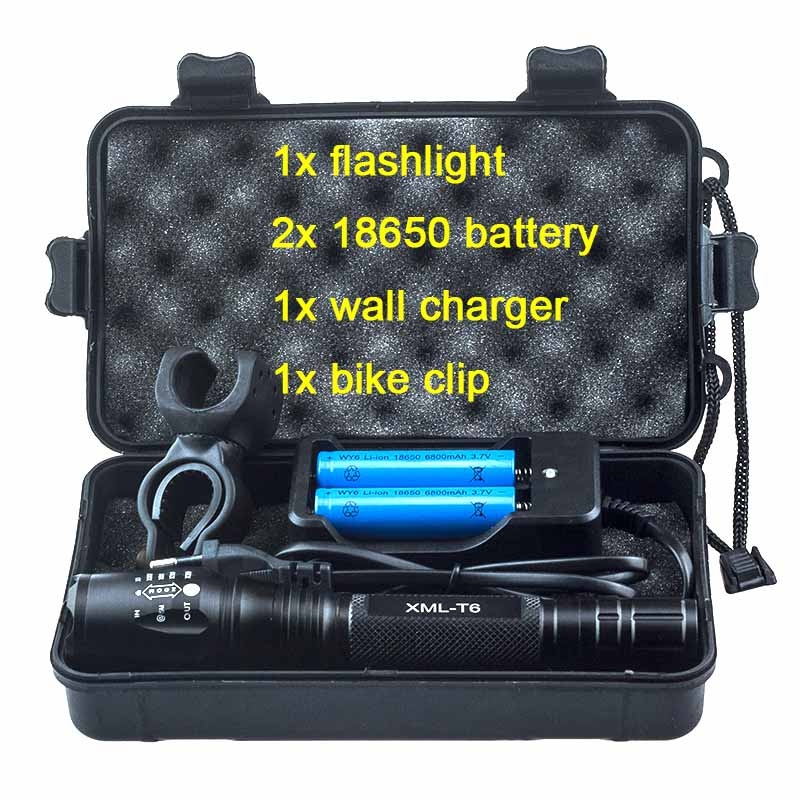 Super Bright Cree xml T6 Led Cycling Flashlight Rechargeable Powerful Hand Light Zoomable Tactical Torch with Black Gift Box 2x18650 powerful led flashlight 5000 lumen super bright zoomable focus led torch cree xml t6 led tactical outdoor lamp light