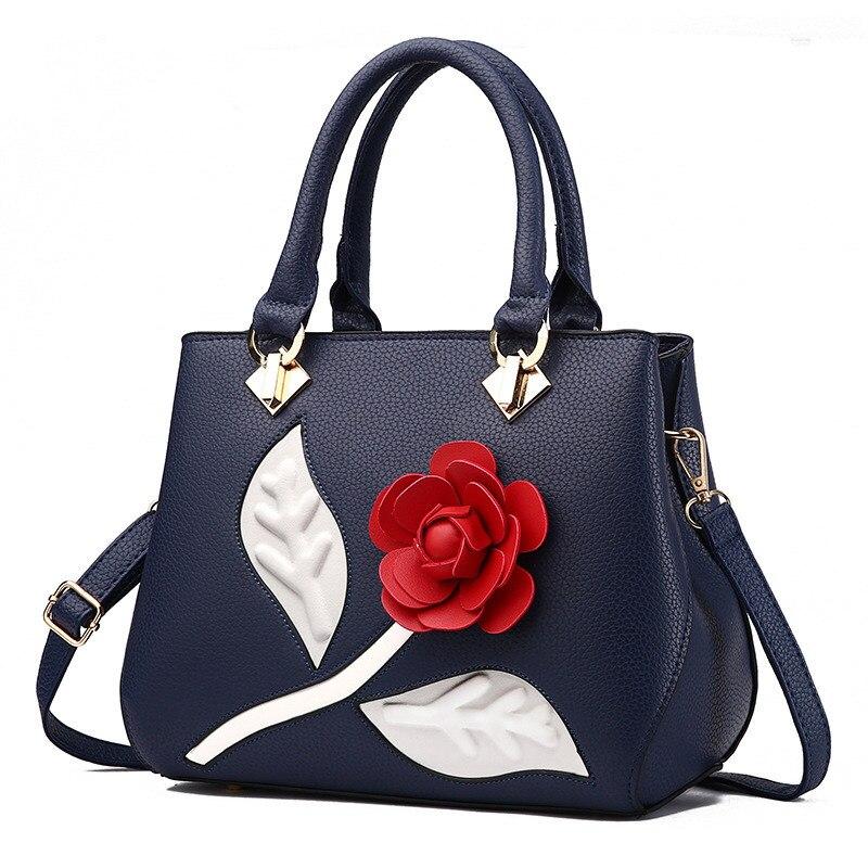 Elegant Fashion PU Office Lady Handbag Blue Women's Bag Red Rose Flower Decoration Crossbody Messanger fashion elegant m