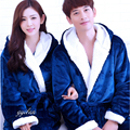 Couple Matching Bathrobe With Hood Flannel Bath Gown Sleep Lounge Plush Robes Dressing Gowns For Women Men Sleepwear Peignoir