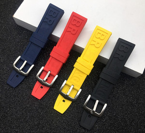 Nature Rubber Watch Strap 20mm 22mm 24mm Black Blue Red Yelllow Watchband Bracelet For navitimer/avenger/Breitling band logo on