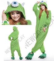 Mike Wazowski Adult Animal Pajamas Costumes Onesies Jumpsuits Sleepwear Monocular Cosplay