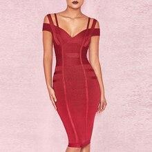 2018 Newest Summer Bandage Dress Women Celebrity Spaghetti Strap Off Shoulder V-Neck Sexy Night Out Party Dress Women Vestidos