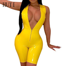 HUTI Faux Leather Jumpsuits Summer Sleeveless Open Crotch PU Playsuits with Zipper Sexy Deep V-neck Hollow Out Overalls