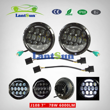 """2 pieces J108 DOT certification 78w 7"""" round black projector led headlight with halo DRL for 96~15 CJ TJ LJ JK auto products"""