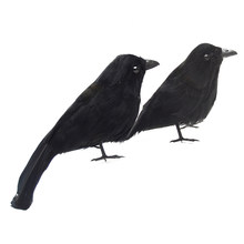 High-End Simulated Crow Props Halloween Decoration Farm Garden Bird Repellent Ornaments black Halloween crow decoration(China)