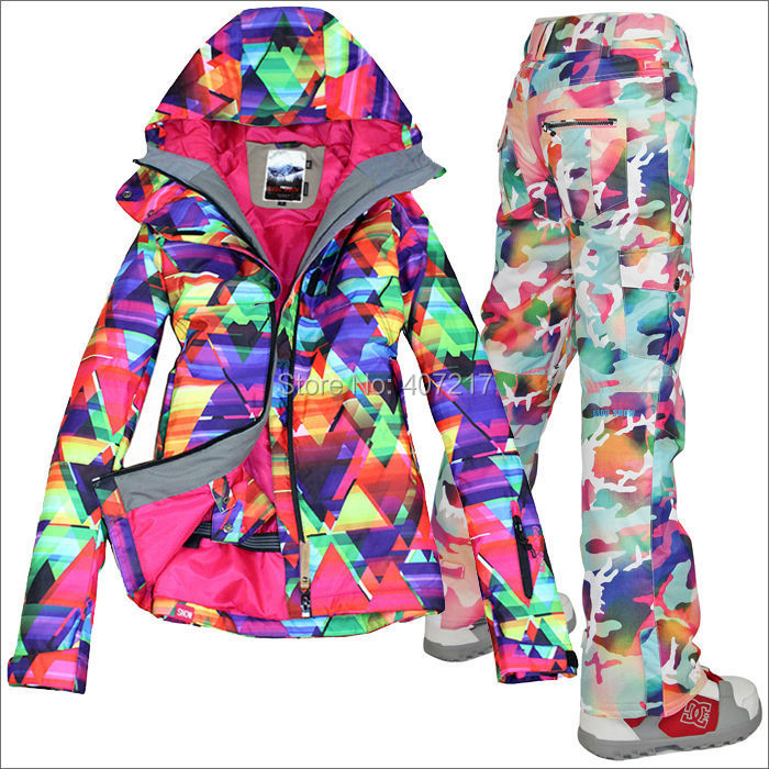 2016 hot womens waterproof ski suit ladies snowboarding suit skiwear - Sportswear and Accessories - Photo 4